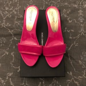 DOLCE AND GABBANA  hot pink mules. Size 39 (EU).